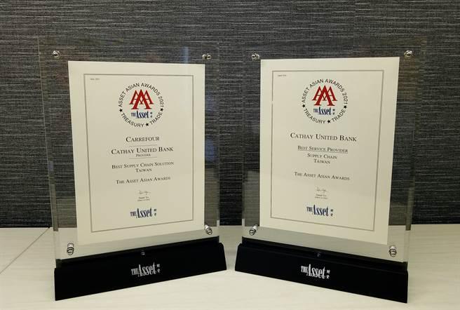 國泰世華銀行榮獲權威財經雜誌《財資The Asset》及《Asian Banking & Finance》頒發四項大獎。(圖/國泰世華銀行提供)