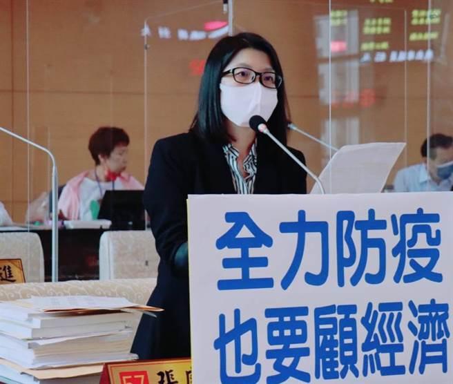 台中市議員張廖乃綸關切新冠肺炎疫情,對地方經濟的衝擊,要求台中市政府在全力防疫的同時,也要顧經濟。(陳世宗攝)