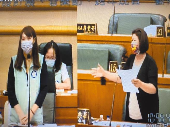 嘉義市議員張秀華(右)促市政府停辦今年底跨年晚會,文化局長盧怡君(左)備詢。(廖素慧攝)