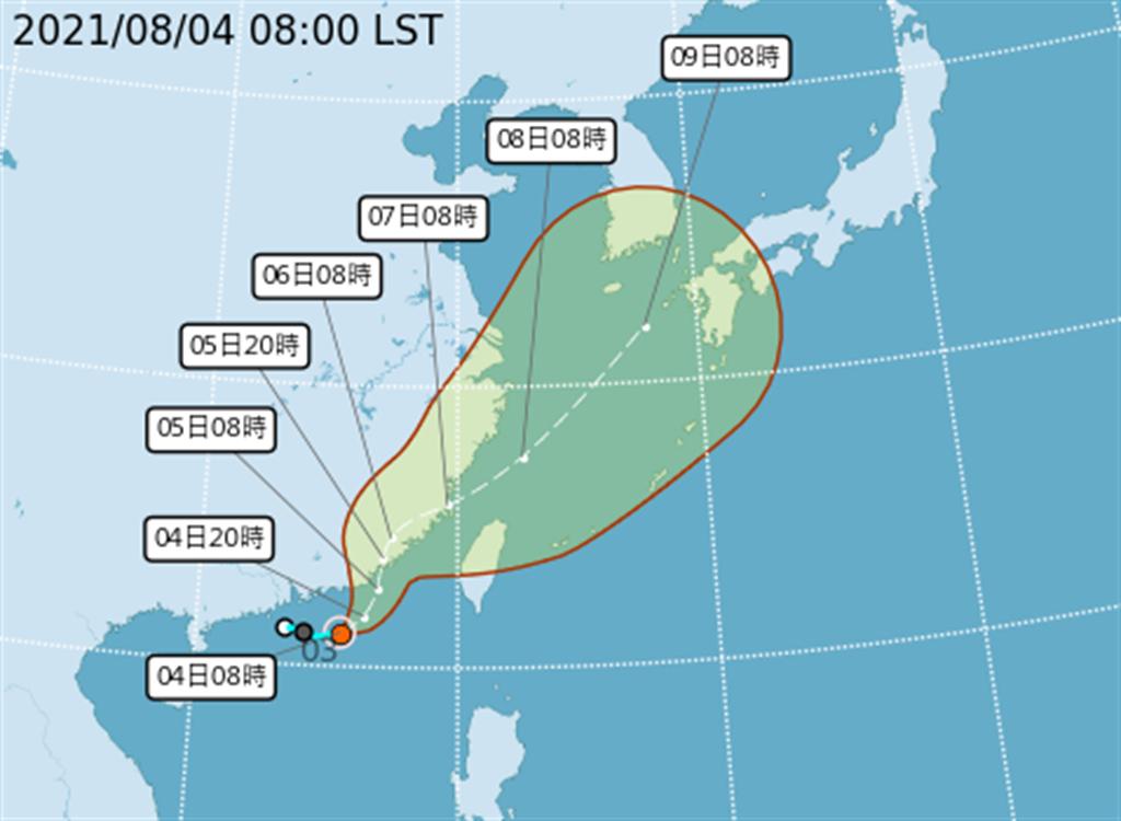 中央氣象局預估,盧碧會先登陸福建,再沿著大陸沿海北上。(翻攝自氣象局)