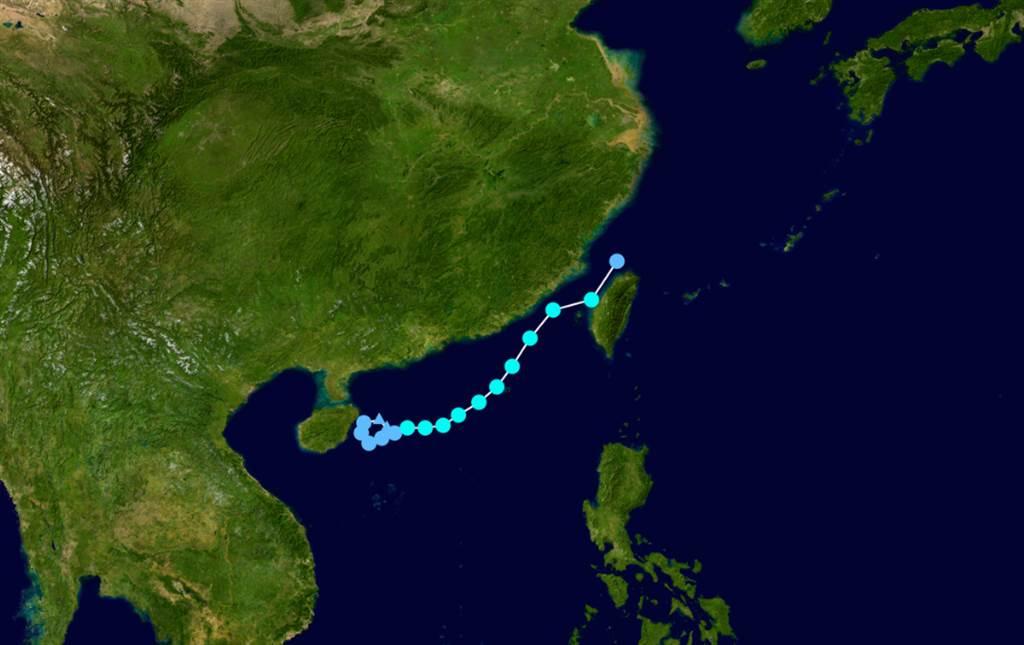 當年的泰利颱風,同樣穿越台灣海峽北上。(翻攝網路)