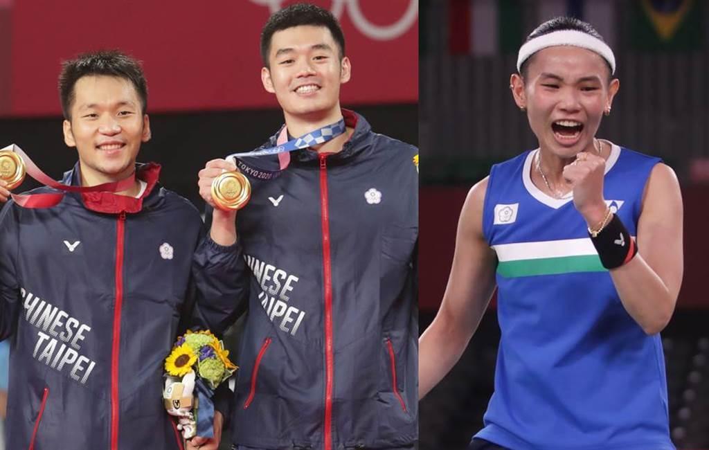 台灣羽球國手王齊麟和李洋奪下男子雙打奧運金牌,戴資穎獲得女單銀牌。(圖/季志翔攝)
