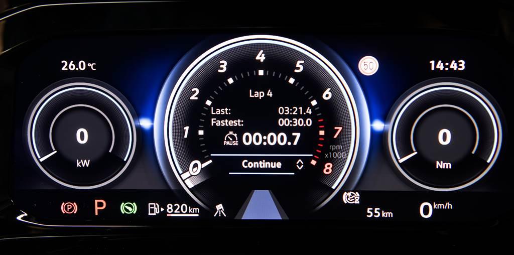 R專屬性能化儀表模式,內容可隨意調整所需資訊如R專屬POWER功率輸出kW和扭力值/扭力分配、G-Force、Bar增壓值和賽道單圈計時等。(圖/品牌提供)