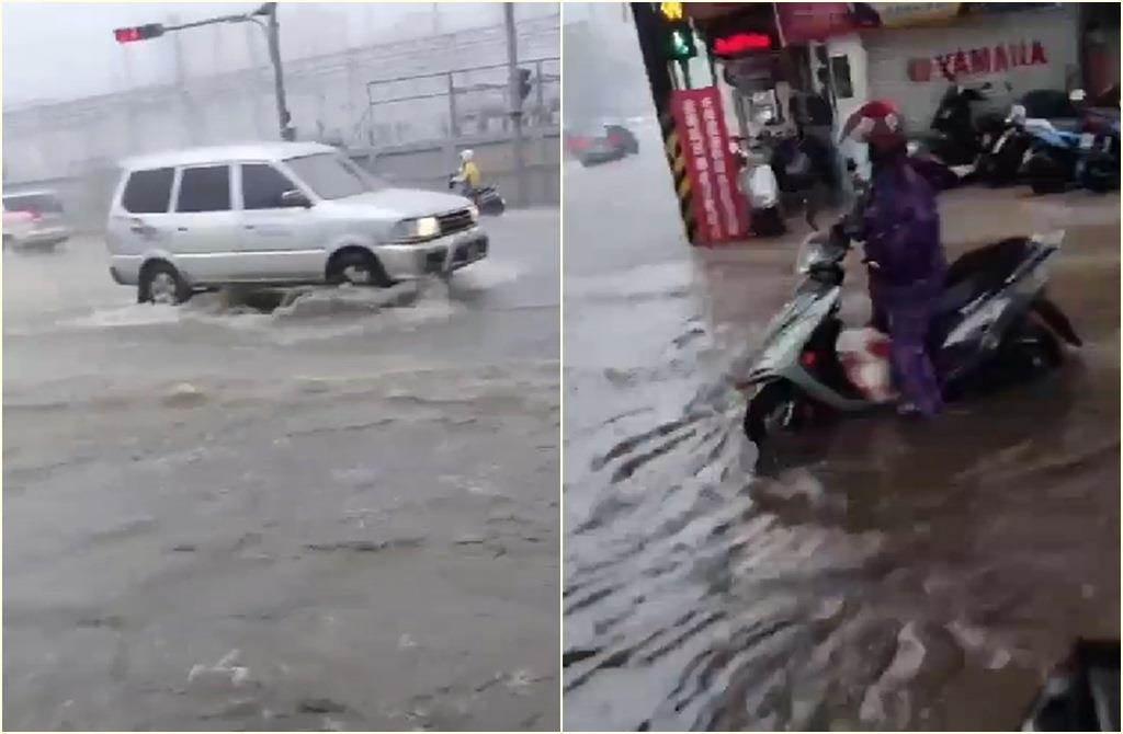 新竹4日下午瞬間暴雨竹科附近大淹水,民眾直播喊:天哪!(截自記者爆料網影片)