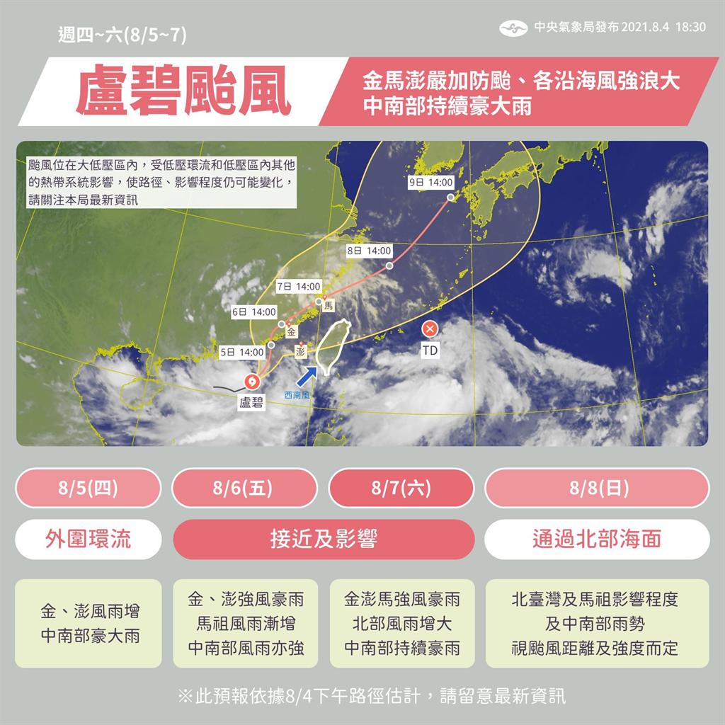氣象局預測,盧碧颱風周四至周六影響澎湖、金門、馬祖、中部和南部地區,將有強風豪雨。(圖/氣象局)