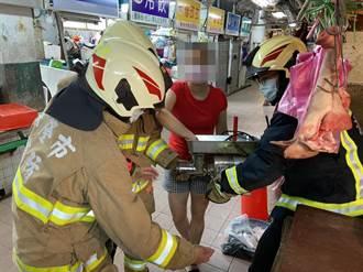 基隆豬肉攤商手指捲入絞肉機 連人帶機急送醫