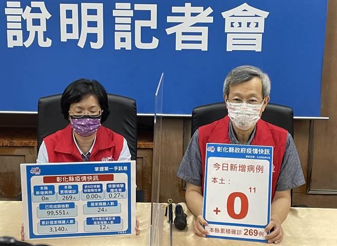 彰化縣長王惠美 、衛生局長葉彥伯表示,彰化持續留住嘉玲,目前50歲以上總接種率55.84%。(吳敏菁攝)