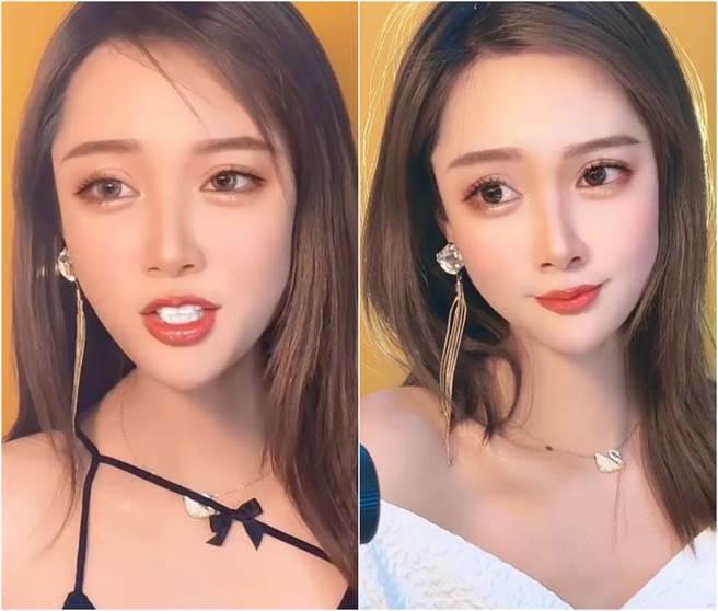 網紅「小靈兒的化妝日常」常分享化妝技巧。(圖/翻攝自快手)