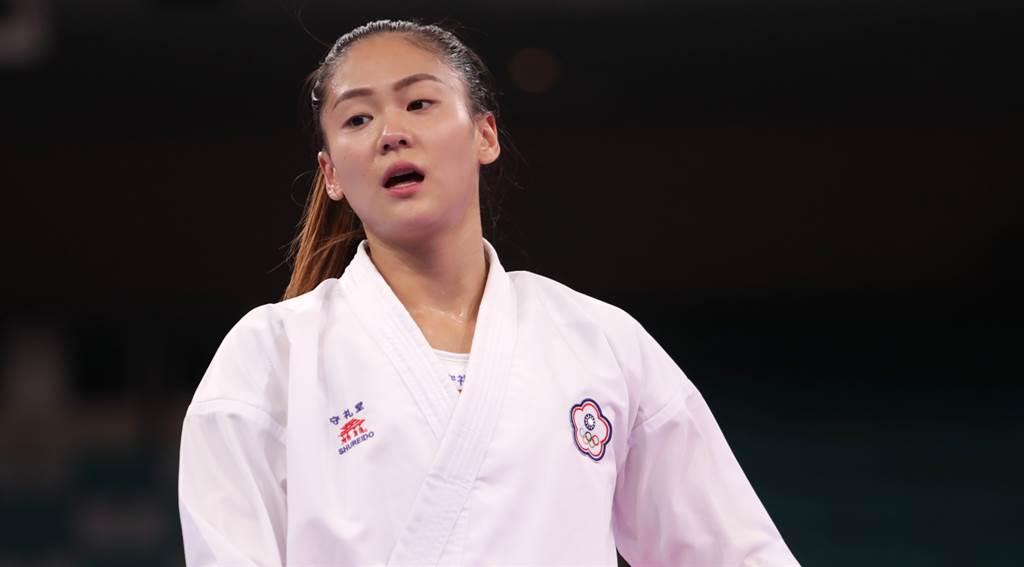 文姿云摘下東京奧運空手道自由組手女子55公斤銅牌。(季志翔攝)