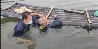 命大! 阿北餵魚突腳滑 跌魚塭死命撐2小時得救了