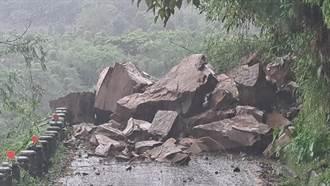嘉130線公田路坍方墜下巨型落石 震撼畫面曝光