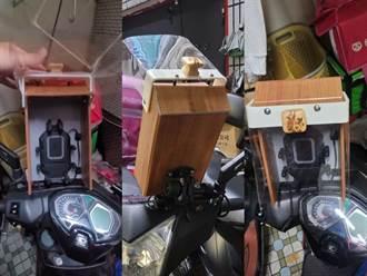 外送員DIY防風雨手機架裝置 照片曝光網傻:想拿香拜拜