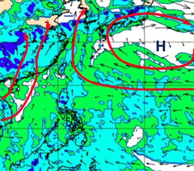 最新歐洲模式模擬,下周五(13日)20時850百帕風場圖顯示,太平洋高壓增強西伸,西南季風型態終於改變。(翻攝自「三立準氣象· 老大洩天機」)