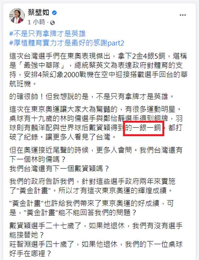 蔡壁如發文錯指「羽球則有麟洋配與世界球后戴資穎得到的一銀一銅」。(圖/摘自蔡壁如臉書)