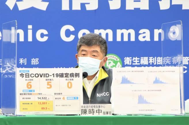 中央疫情指揮中心指揮官、衛福部長陳時中將在疫情記者會上說明。(圖/指揮中心提供)