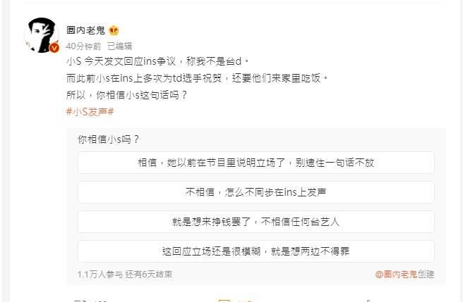 知名微博博主圈內老鬼舉行投票,問陸網友相信小S「我不是台獨」這句話嗎?(取自微博)