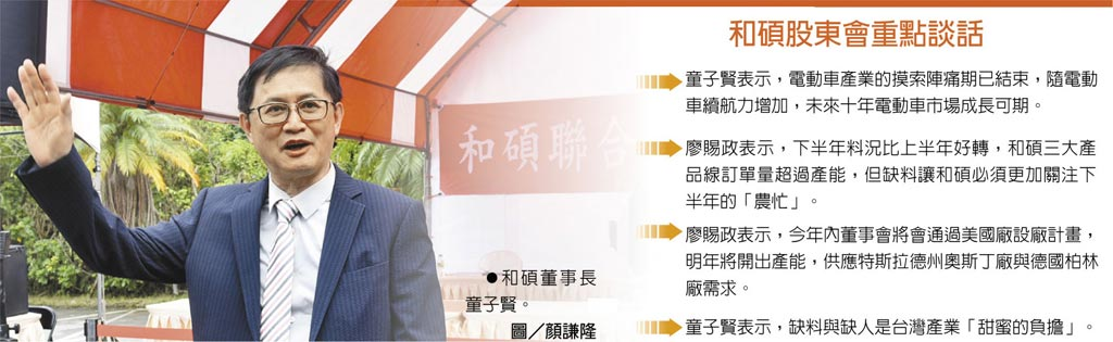 和碩股東會重點談話 和碩董事長童子賢。圖/顏謙隆