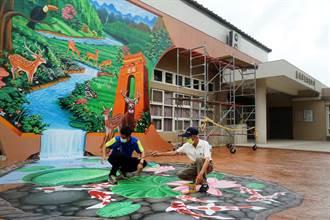 妝點地方特色 塗城里活動中心水鹿大壁畫製作中