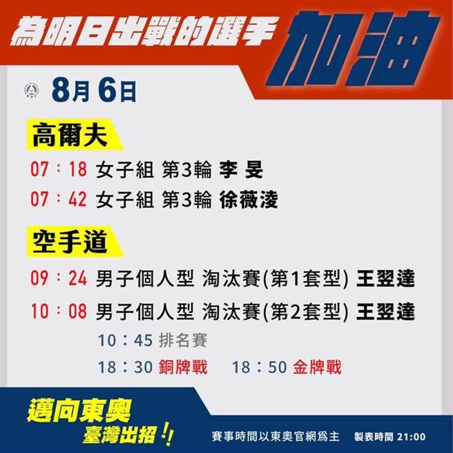 6日中華隊賽程。(取自教育部臉書)