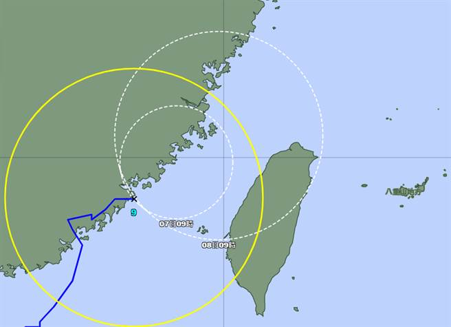氣象專家指出,各國預報颱風路徑,登陸台灣桃竹一帶的機率竟達4成。(翻攝日本氣象廳)