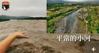 玉井小河成黃河恐怖畫面曝光!網帥橋上驚喊:快淹上來了