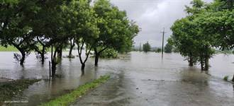 直擊高屏溪水暴漲淹上堤岸 一片汪洋畫面震撼