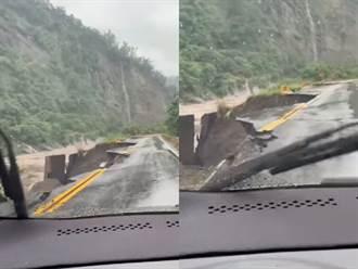 台29線甲仙段驚悚路面下陷 單線通行下方驚見湍急洪水