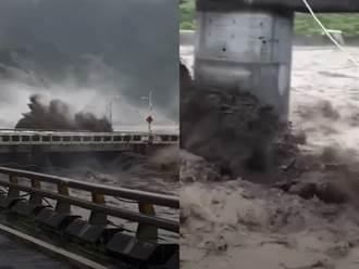荖濃溪走山沒入洪水驚恐畫面曝光 寶來橋險遭吞噬激起大片浪花
