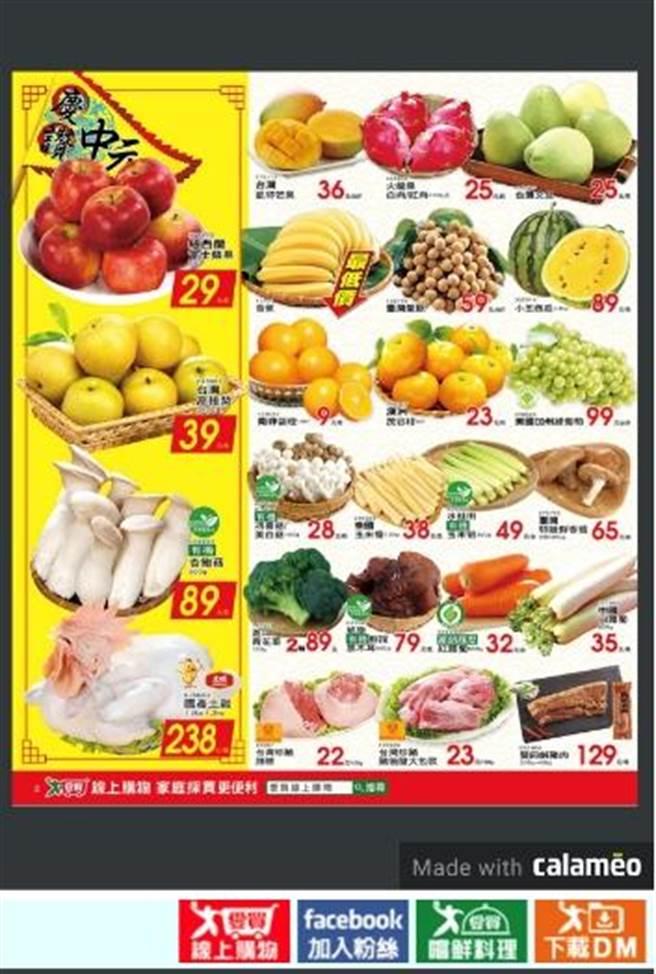 愛買價格較平穩的有機葉菜和進口蔬菜,根莖類及菇類等價格較穩定,DM上蔬菜的價格不變。(愛買提供)