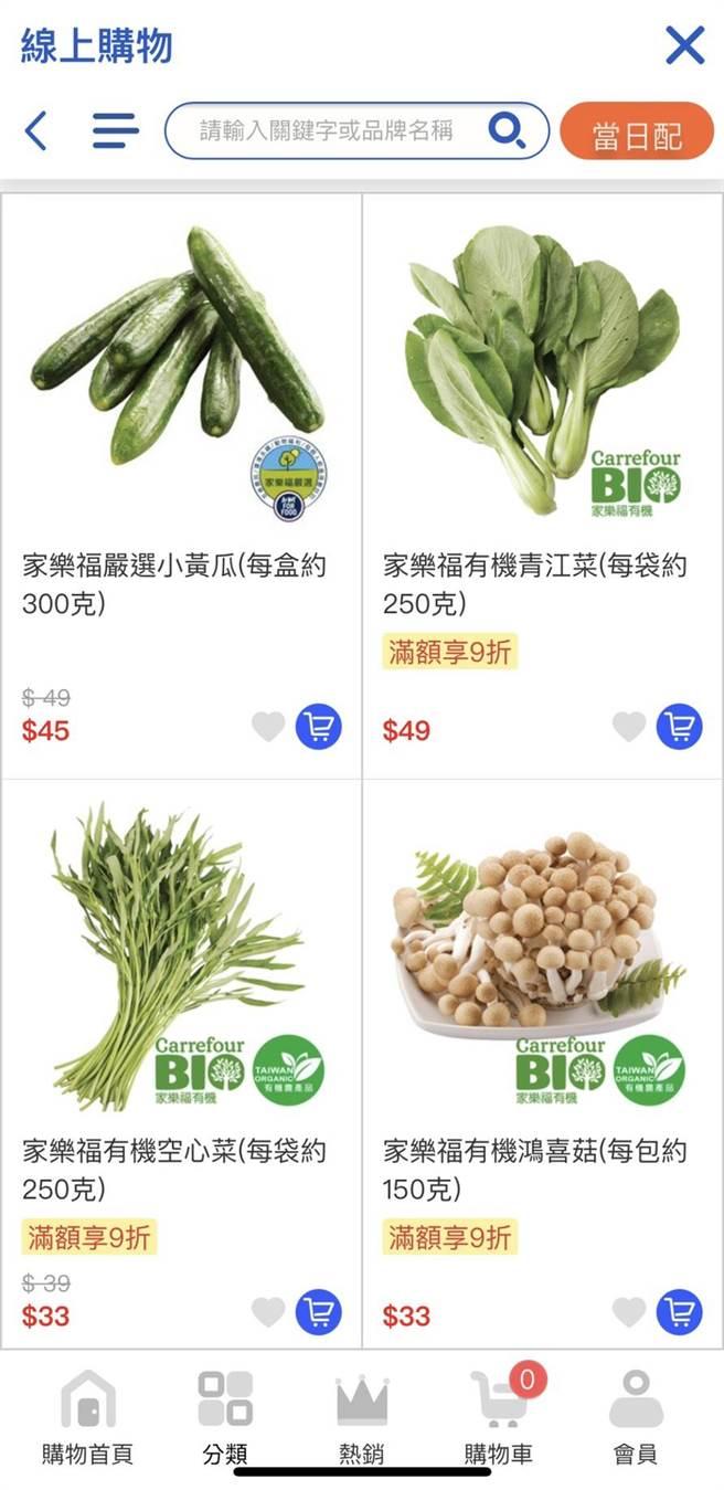家樂福葉菜每袋250g,售價在33元至49元間。(家樂福提供)