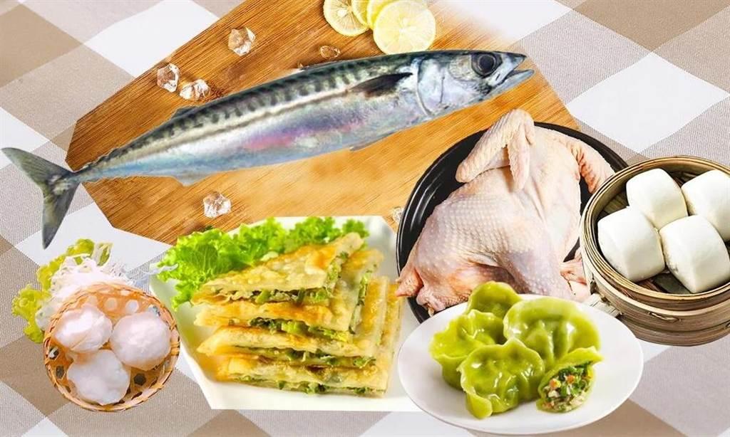 樂天市場上饗嚮宜蘭縣農會的宜蘭宅宅天冰冷凍箱,含鯖魚、花枝丸、魩仔魚、仿土雞、羊奶饅頭、三星蔥水餃、三星蔥餡餅,原價1300元,特價1099元。(樂天市場提供)