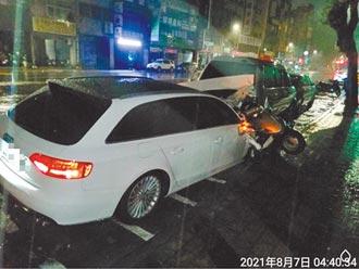 高雄奧迪撞6車 屏東寶馬撞倒路燈