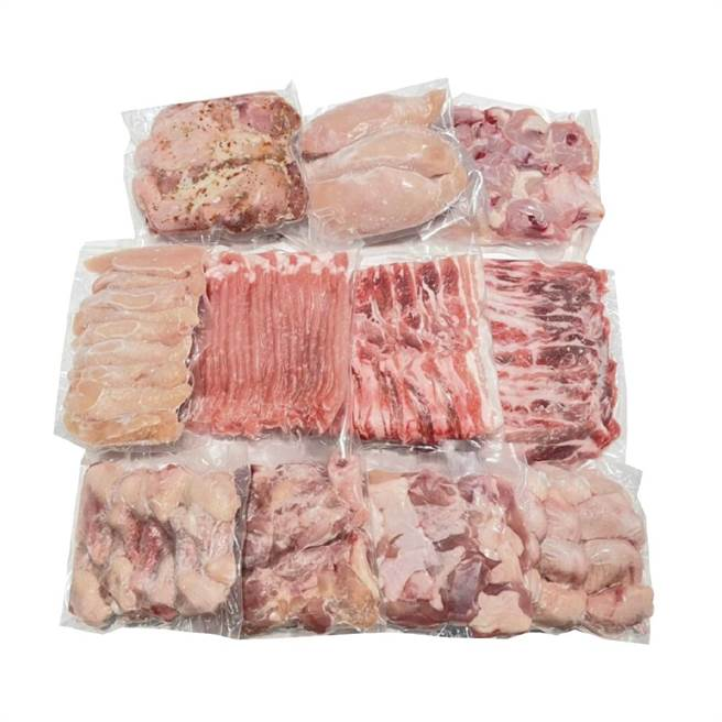 樂天市場上裕毛屋生鮮超市的台灣履歷豬雞肉箱,原價1693元,特價1599元。(樂天市場提供)