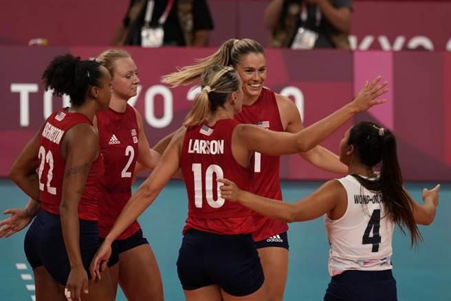 美國女排以直落三解決巴西拿下隊史奧運首金。(美聯社)