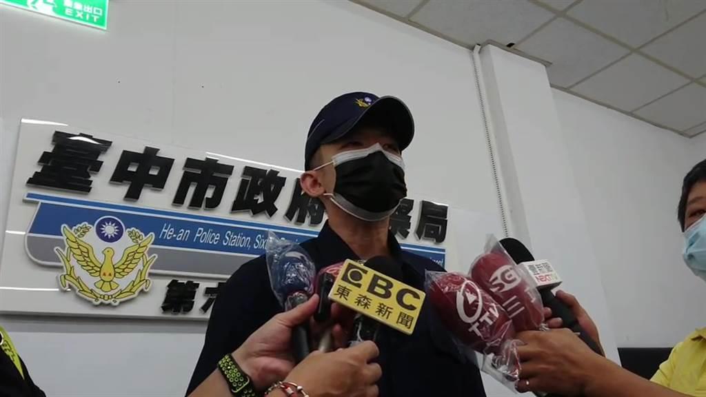 台中市警察局第六分局何安所副所長林威閎表示,員警獲報迅速抵達現場制伏該名男子,前後大概花了7分鐘的時間。(盧金足攝)