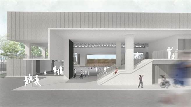 新竹市政府向中央爭取8000萬經費,為竹蓮國小打造兩層樓「多功能活動中心」,師生上體育課終於可不受天候限制了。(新竹市政府提供示意圖/陳育賢新竹傳真)