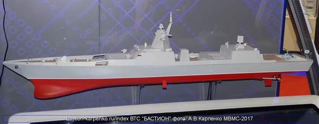 在2019莫斯科海事展中,推出的22350M大型戈爾什科夫元帥級。(圖/Rob Lee Twitter)
