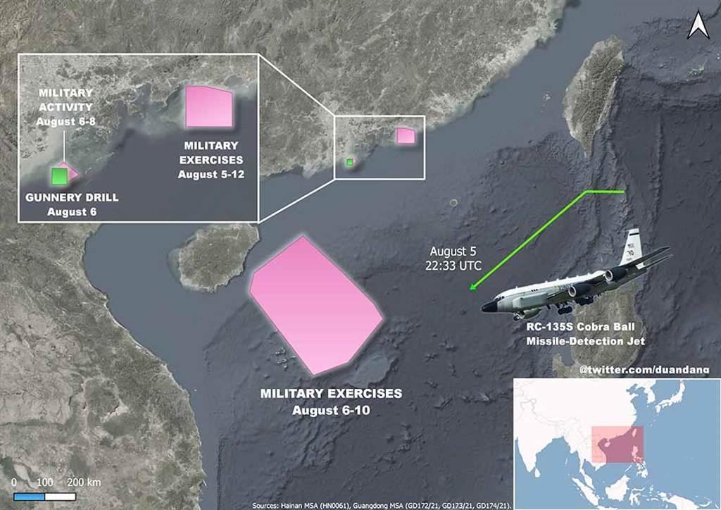日前解放軍在廣東沿海進行火砲射擊演習時,美軍就派出偵察機前來進行偵察。這次南海演習一開始,美方偵察機亦派出多架次進行高強度偵察。(圖/推特@duandang)