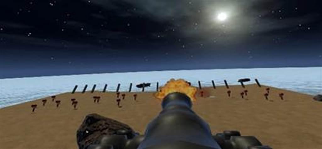 金大資工系以古寧頭戰役為主題,透過虛擬實境開發金門戰史互動遊戲軟體。(金大提供)