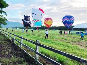 2021年台灣熱氣球嘉年華正式登場 HELLO KITTY及喔熊熱氣球現身池上站台
