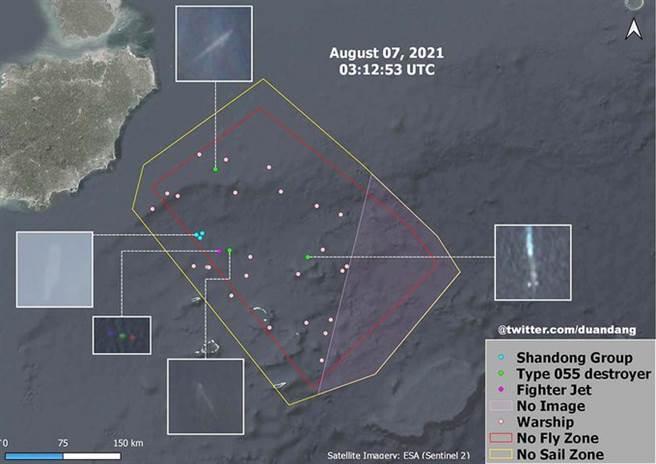 歐洲哨兵2號衛星圖片,顯示出演習區內已有山東號航母、075兩棲攻擊艦、055導彈驅逐艦及其他艦艇,總數近30艘水面艦艇,正在進行史上規模最大的一次海、空與導彈聯合演習。(圖/歐洲哨兵2號衛星)
