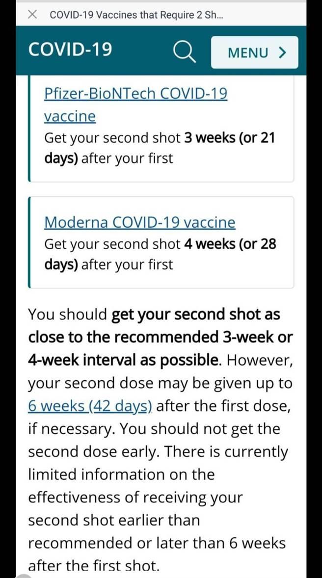 美國疾管署關於莫德納疫苗2劑間隔清楚寫著28天,最晚不要超過6周(摘自美國疾管署官網)