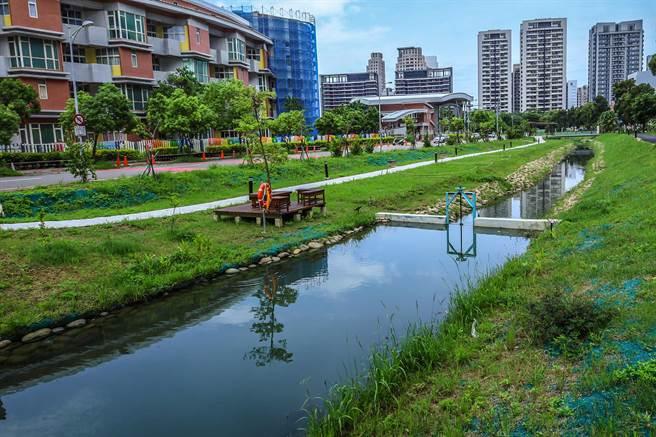 竹北市東興圳以卵石疊砌圳道,植栽設計盡量保持原有林相,並大量種植草皮綠化。(羅浚濱攝)