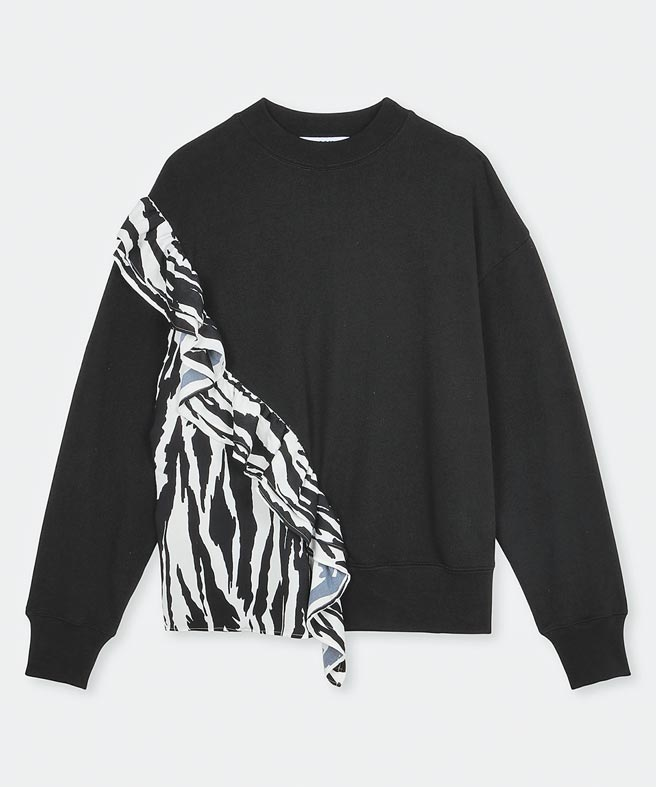 MSGM斑馬紋拼接上衣,1萬4300元。(MSGM提供)