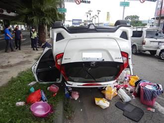 下匝道後未注意車前狀況 中市駕駛追撞3車還倒頭栽