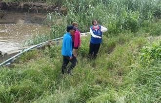 官田南廍排水下游護岸崩塌 水利局先打鋼板穩定