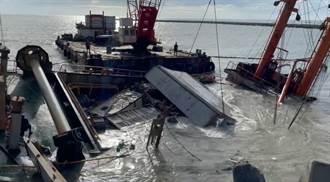 擱淺10天 山寶2號貨櫃開始調離 後艙浸滿海砂