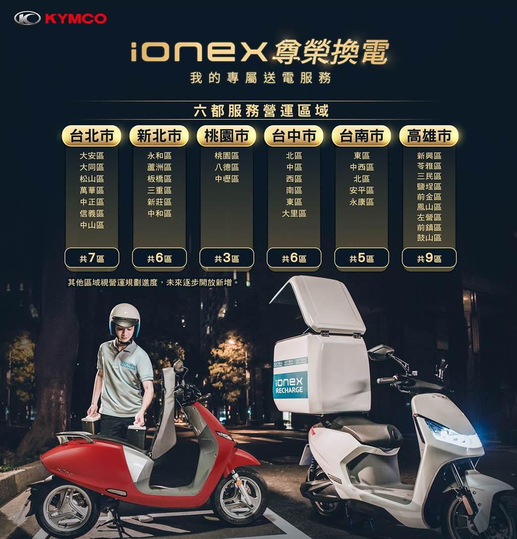 KYMCO「Ionex尊榮換電」公告首波營運範圍(圖/CarStuff)