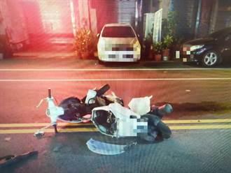 影片直擊 台中男騎士趕上班撞汽車慘死 地面刮出爆量火花