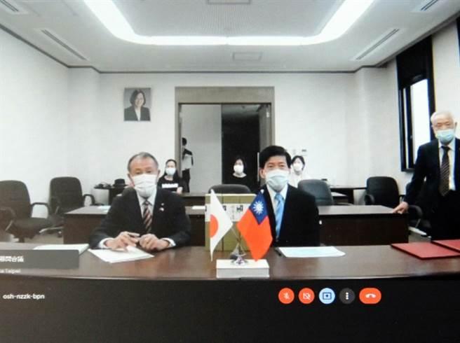 豐前市長後藤元秀(左)期待協助台灣學校在該市深化國際教育環境。(私立科大校院協進會提供)